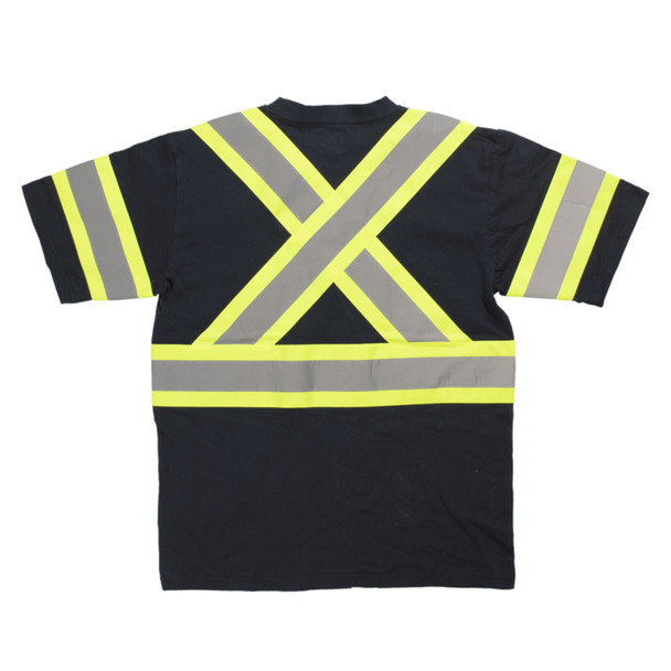 Tough Duck Class 1 Enhanced Visibility Black Safety X-Back T-Shirt ST11BLK Back