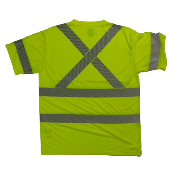 Tough Duck Class 3 Hi Vis T-Shirt with Segmented Reflective X-Back ST12 Green Back