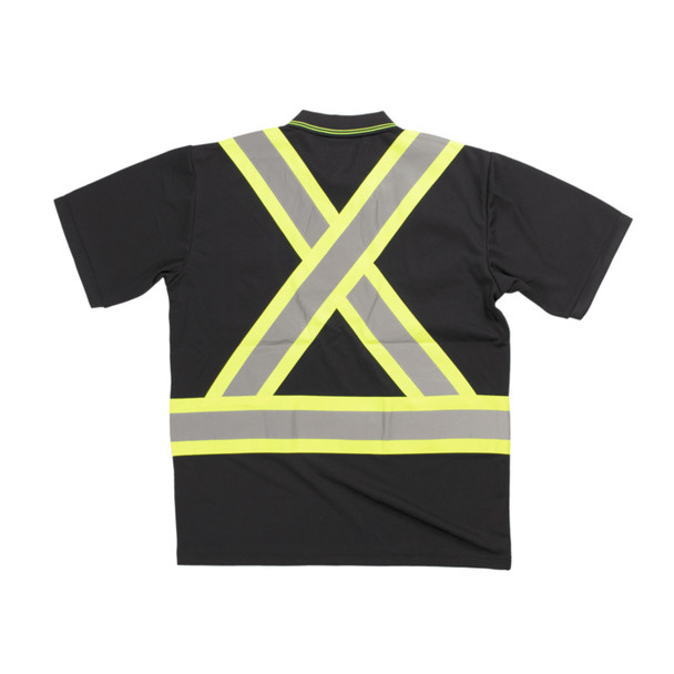 Tough Duck Class 1 Enhanced Visibility X-Back Black Short Sleeve Polo Shirt ST17BLK Back