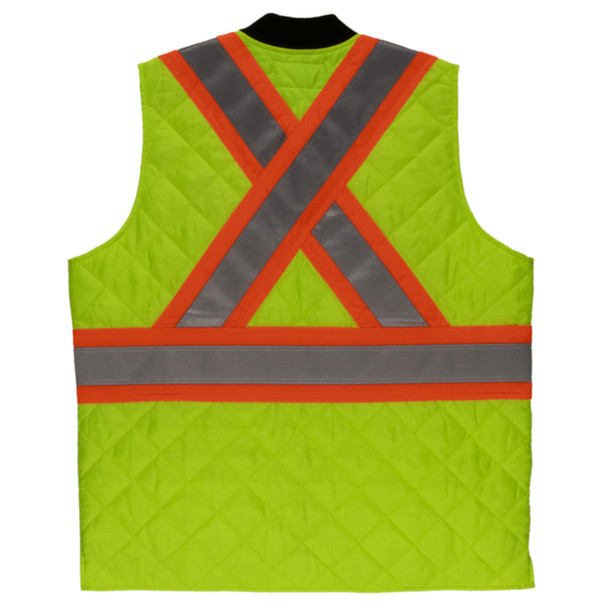 Tough Duck Class 2 Hi Vis Two-Tone X-Back Quilted Safety Vest SV05 Green Back