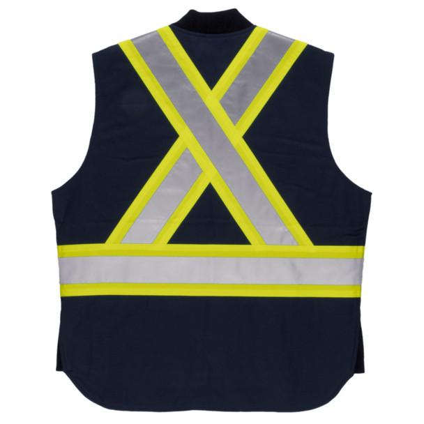 Tough Duck Class 1 Enhanced Visibility X-Back Navy Duck Safety Vest SV06NVY Back