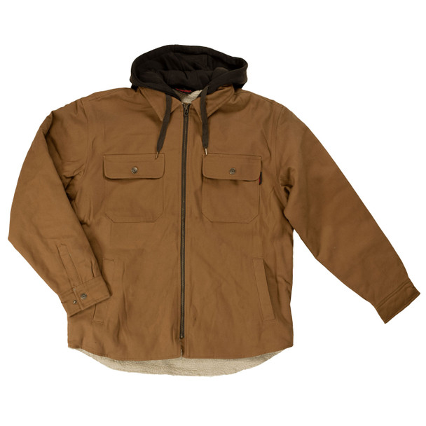 Tough Duck Sherpa Lined Duck Jac-Shirt WS03 Front Brown