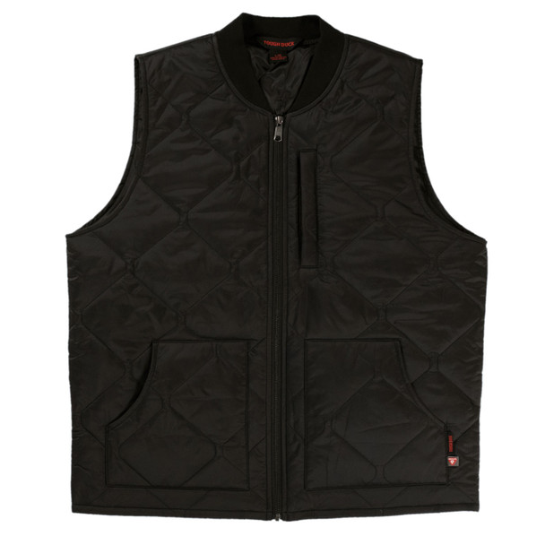Tough Duck Quilted Insulated Water Repellent Black Freezer Vest WV03 Front