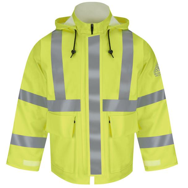 Bulwark FR Class 3 Hi Vis Yellow X-Back Rain Jacket JXN4 Front