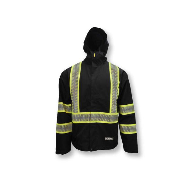 DeWALT Class 1 Enhanced Visibility Two-Tone Segmented Reflective Black Rain Jacket DRW11 Front