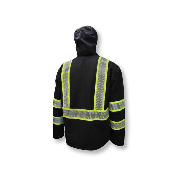 DeWALT Class 1 Enhanced Visibility Two-Tone Segmented Reflective Black Rain Jacket DRW11 Side Back