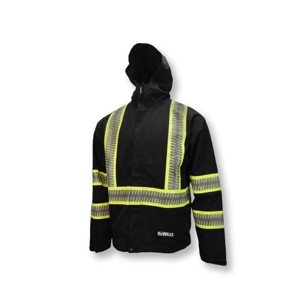 DeWALT Class 1 Enhanced Visibility Two-Tone Segmented Reflective Black Rain Jacket DRW11 Side Front