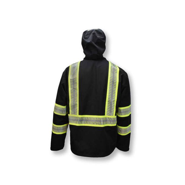 DeWALT Class 1 Enhanced Visibility Two-Tone Segmented Reflective Black Rain Jacket DRW11 Back