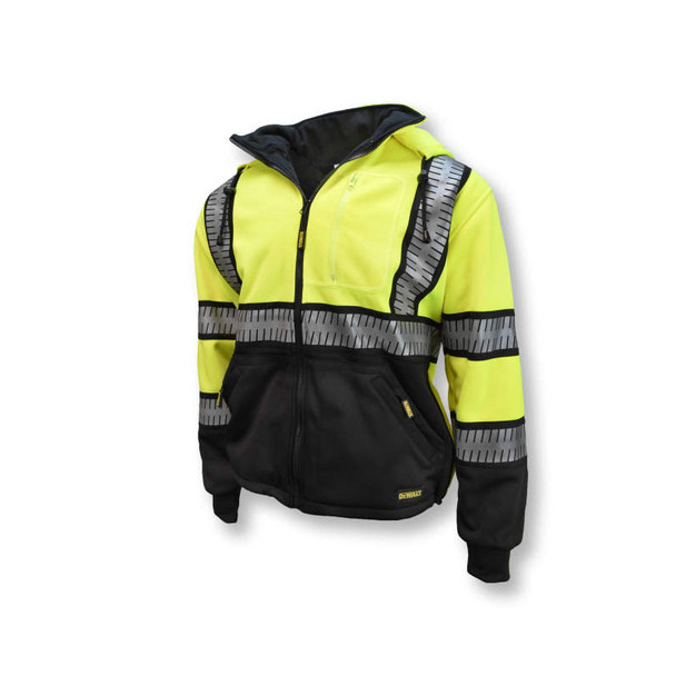 DeWALT Class 3 Hi Vis Yellow Black Bottom Hoodie with Segmented Reflective Tape DSJ32 Side Front