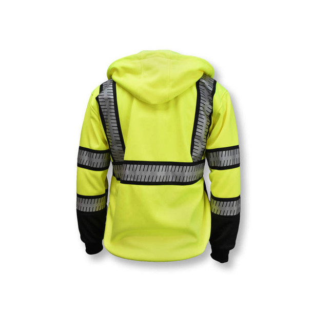 DeWALT Class 3 Hi Vis Yellow Black Bottom Hoodie with Segmented Reflective Tape DSJ32 Back