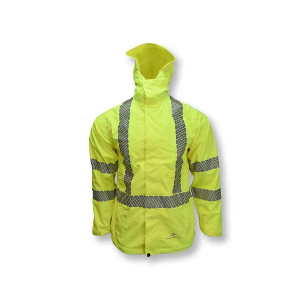 Radians Class 3 Hi Vis Green Ladies Rain Jacket with Segmented Reflective Tape RW12L Front