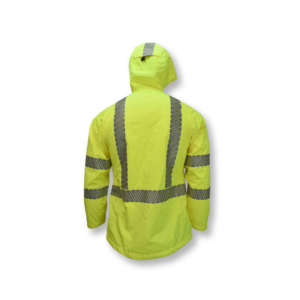 Radians Class 3 Hi Vis Green Ladies Rain Jacket with Segmented Reflective Tape RW12L Back