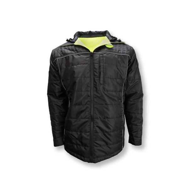 Radians Class 3 Hi Vis Green Black Bottom Wind Jacket with Segmented Reflective Tape SJ04 Reversed