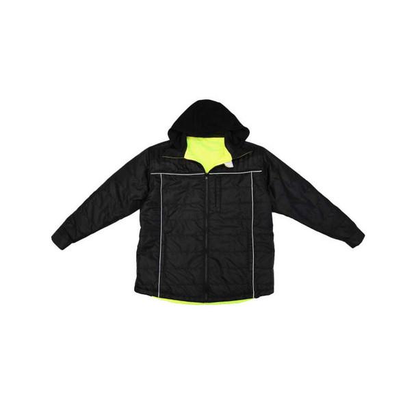 Radians Class 3 Hi Vis Green Black Bottom Wind Jacket with Segmented Reflective Tape SJ04 Reversed Front Flat