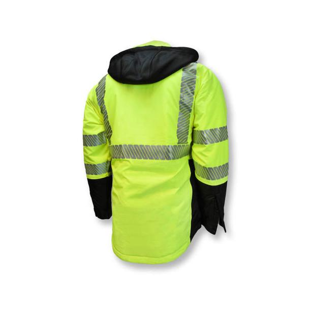 Radians Class 3 Hi Vis Green Black Bottom Wind Jacket with Segmented Reflective Tape SJ04 Back