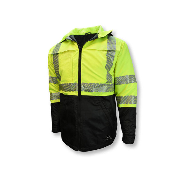 Radians Class 3 Hi Vis Green Black Bottom Wind Jacket with Segmented Reflective Tape SJ04 Front