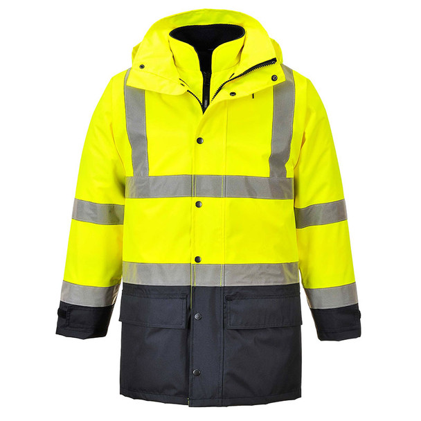 PortWest Class 3 Hi Vis 5-in-1 Executive Jacket US768YNR Yellow/Navy Front with Collar