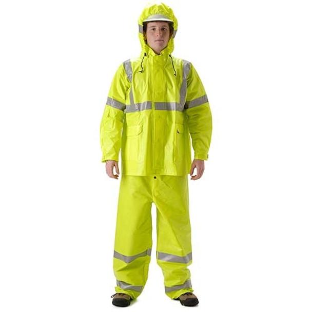 NASCO FR Class 3 Hi Vis ArcLite Nomex Rain Jacket with Bib Trouser Set 1500-SET Jacket with Trouser