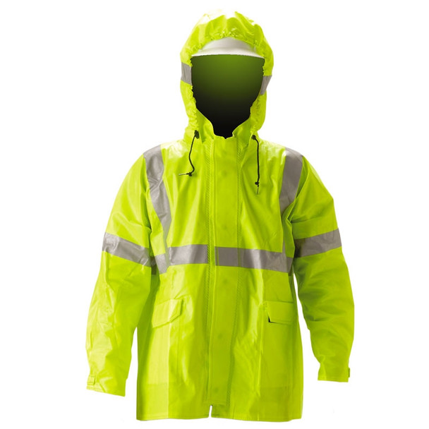 NASCO FR Class 3 Hi Vis ArcLite Nomex Rain Jacket with Bib Trouser Set 1500-SET Jacket Close Up