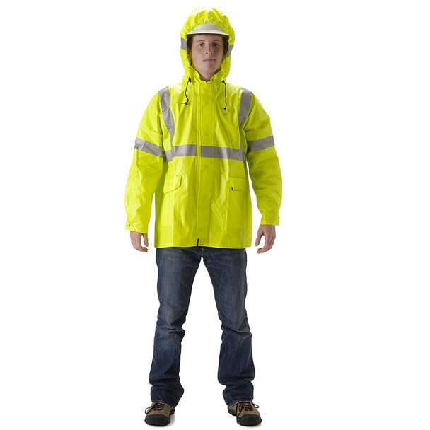 NASCO FR Class 3 Hi Vis ArcLite Nomex Rain Jacket with Bib Trouser Set 1500-SET Jacket