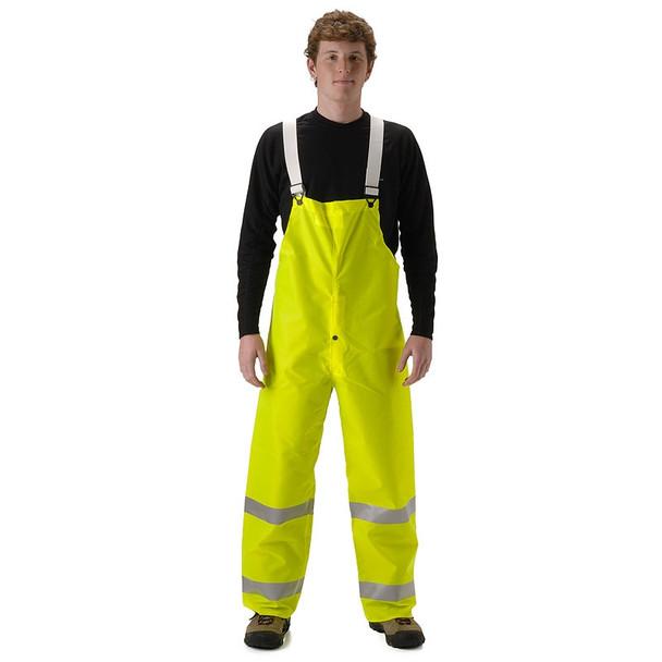 NASCO Class E Hi Vis WorkChoice Fly Front Waterproof Bib Trouser 501TF Yellow