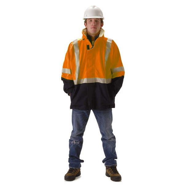 NASCO FR Class 3 Hi Vis Orange Omega Flash Fire Arc Rated Rain Jacket 5503JNFO