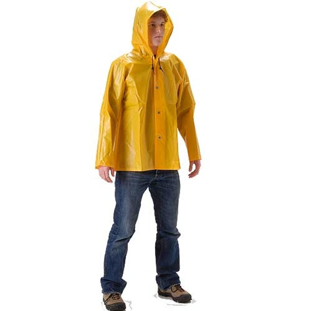 NASCO ASTM D751 WorkHard Waist Length Industrial Rain Jacket With Hood 61JSY Front