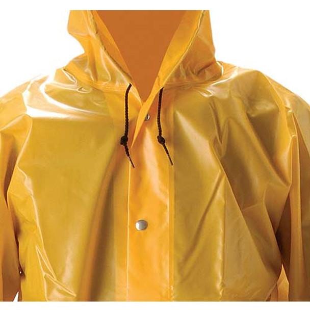 NASCO ASTM D751 WorkHard Waist Length Industrial Rain Jacket With Hood 61JSY Close Up