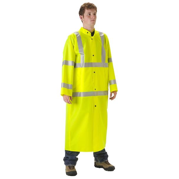 NASCO Class 3 Hi Vis WorkLite Made in USA Full Length Raincoat 80CFY455 Yellow