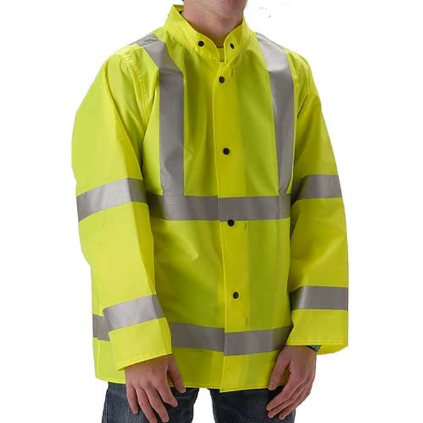 NASCO Class 3 Hi Vis WorkLite Rain Jacket with D-Ring Access 80JF Yellow Front