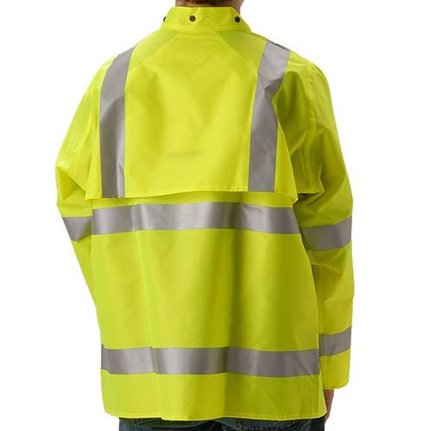 NASCO Class 3 Hi Vis WorkLite Rain Jacket with D-Ring Access 80JF Yellow Back