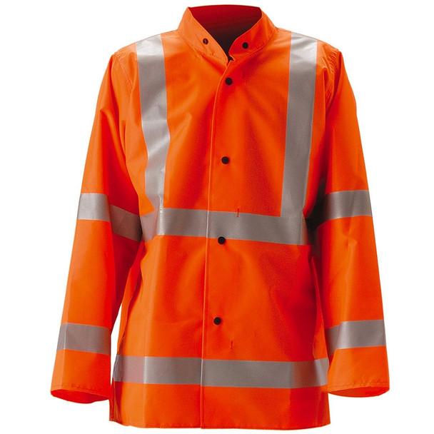 NASCO Class 3 Hi Vis WorkLite Rain Jacket with D-Ring Access 80JF Orange