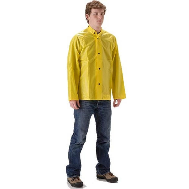 NASCO ASTM D6413 WorkLite Made in USA Rain Jacket with Corduroy Lined Collar 80JY Front