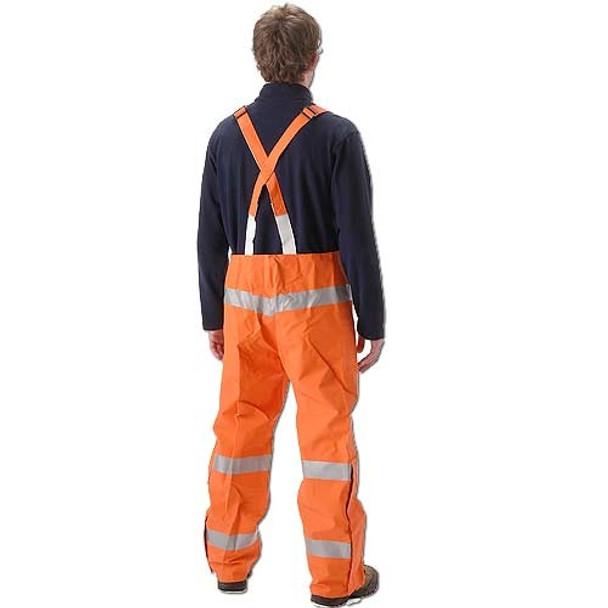 NASCO FR Class 3 Hi Vis Orange PetroLite Arc Flash Fire Chemical Splash Bib Trouser 9000TBO245 Back