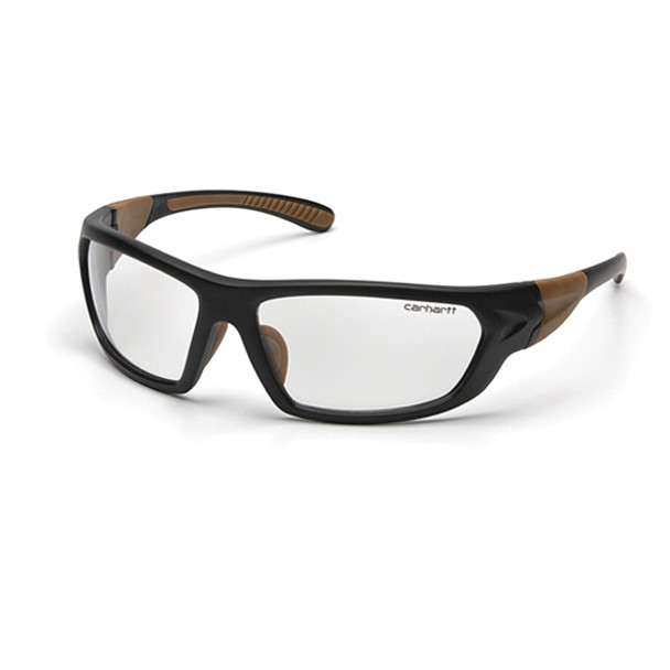 Carhartt Carbondale Safety Glasses - Clear Lens/Black-Tan Temples - Box of 12 - CHB210D