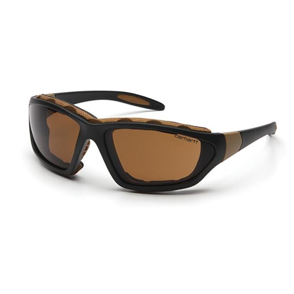 Carhartt Box of 12 Carthage Black-Tan Frame Anti Fog Bronze Lens Safety Glasses CHB418DTP