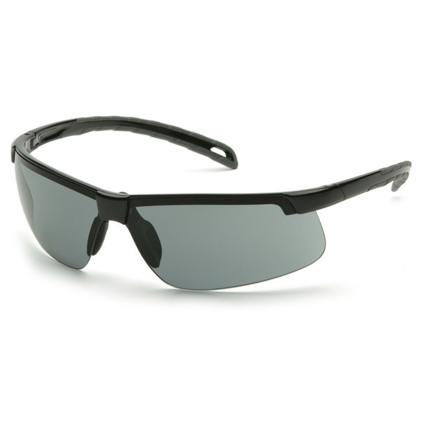 Box of 12 Pyramex Ever-Lite Gray Lens Black Frame Safety Glasses SB8620D Side