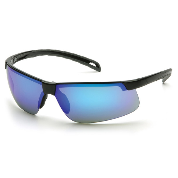 Box of 12 Pyramex Ever-Lite Ice Blue Mirror Lens Safety Glasses SB8665D Side