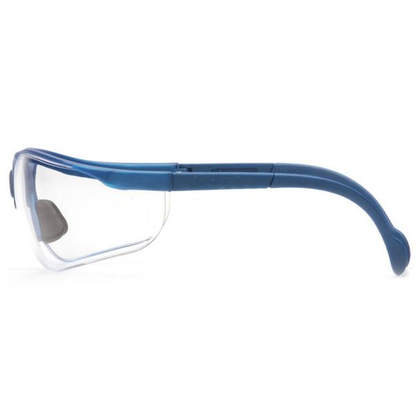 Box of 12 Pyramex Venture II Metallic Blue Half Frame Clear Lens Safety Glasses SMB1810S Profile