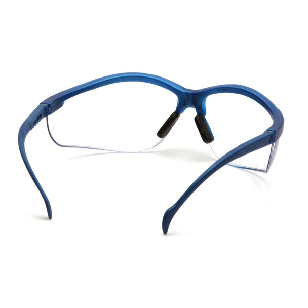 Box of 12 Pyramex Venture II Metallic Blue Half Frame Clear Lens Safety Glasses SMB1810S Rear