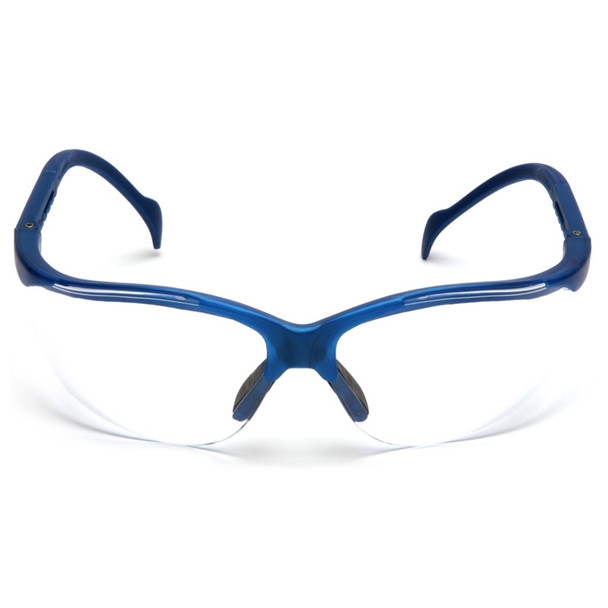 Box of 12 Pyramex Venture II Metallic Blue Half Frame Clear Lens Safety Glasses SMB1810S Front