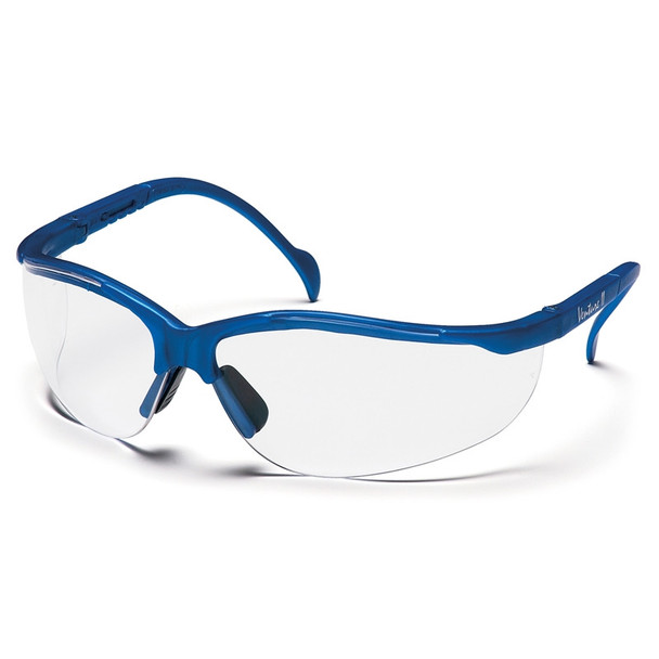 Box of 12 Pyramex Venture II Metallic Blue Half Frame Clear Lens Safety Glasses SMB1810S Side