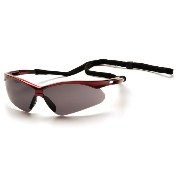 Box of 12 Pyramex PMXTREME Gray Lens Safety Glasses with Cord SR6320SP Side