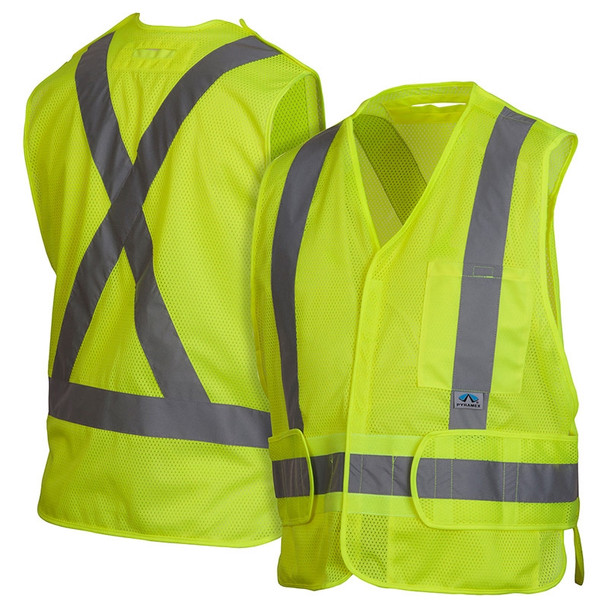 Class 2 X-Back Breakaway Lime Safety Vest RCA2510
