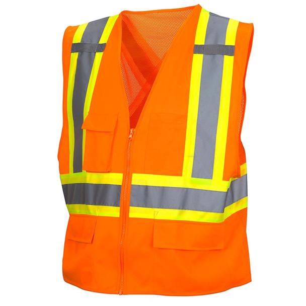 Class 2 X-Back Two-Toned Orange Safety Vest RCZ2420