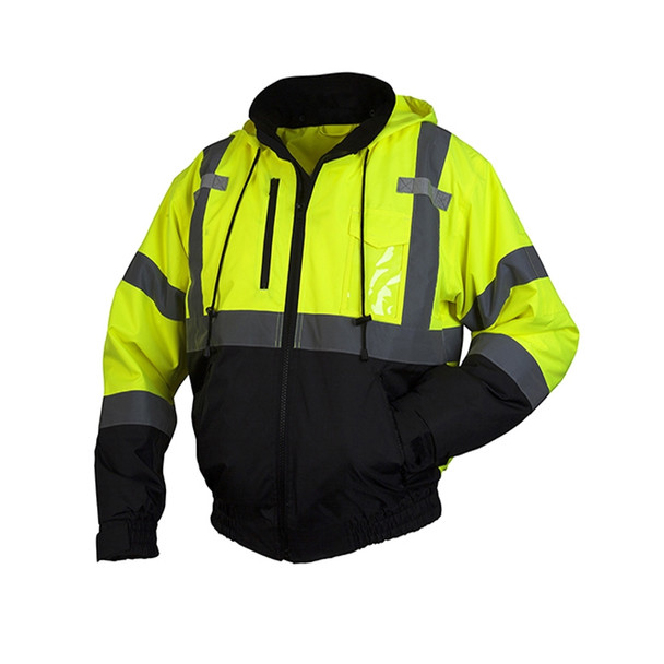 Pyramex Class 3 Hi Vis Lime 2-in-1 Weatherproof Bomber Jacket with Removable Liner RJ3110 Front