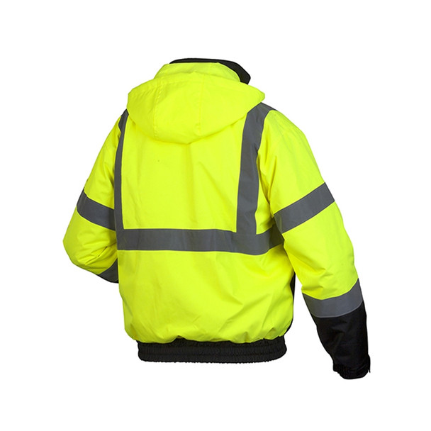 Pyramex Class 3 Hi Vis Lime 2-in-1 Weatherproof Bomber Jacket with Removable Liner RJ3110 Back