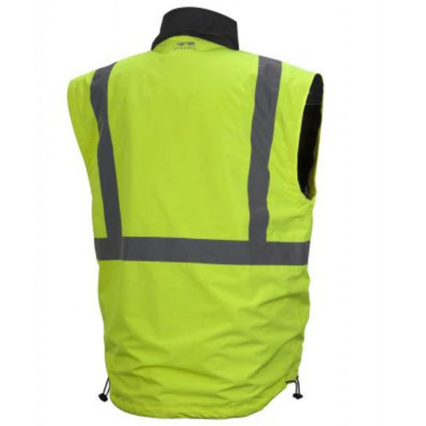 Pyramex Class 3 Hi Vis Lime Weather Resistant 4-in-1 Reversible Jacket with Zip Off Sleeves RJR3410 Vest Back