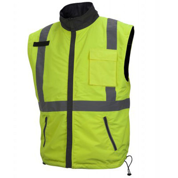 Pyramex Class 3 Hi Vis Lime Weather Resistant 4-in-1 Reversible Jacket with Zip Off Sleeves RJR3410 Vest Front