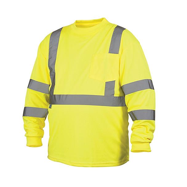 Pyramex Class 3 Hi Vis Lime Moisture Wicking Long Sleeve T Shirt RLTS3110 Front
